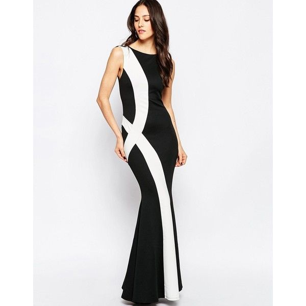 Jessica Wright Rachel Monochrome Maxi Dress (£55) ❤ liked on Polyvore featuring dresses, blackwhite, crew neck maxi dress, bodycon maxi dress, body conscious dress, white bodycon dress and fishtail dress