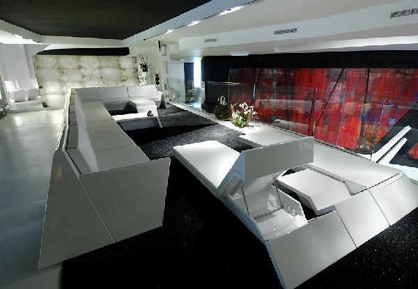 Futuristic furniture in modern interior design and for Modern showroom exterior design