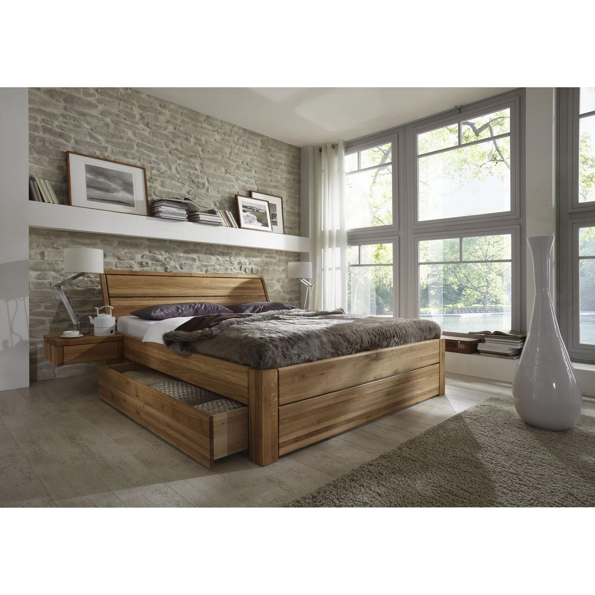 Massivholz Schubladenbett 180x200 Holzbett Bett Eiche
