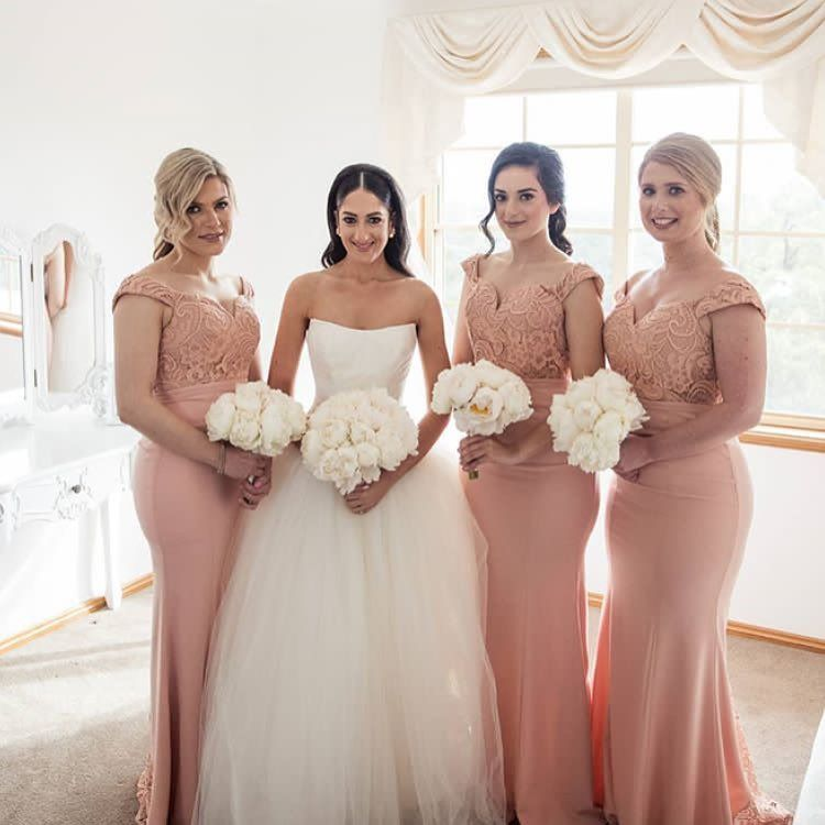 Off Shoulder Mermaid Bridesmaid Dresses 2018 Sweetheart Short Sleeves Lace  Satin Maid of Honor Gowns Party Dress for Weddings vestido para casamento ea9a3acedf16
