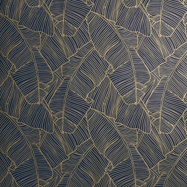 Cb2 Palm Navy And Gold Self Adhesive Wallpaper 100 Liked On Polyvore Featuring Home Home Dec Modern Wallpaper Designs Modern Wallpaper Designer Wallpaper