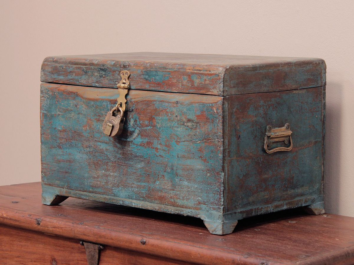 Old Blue Wooden Chest At Scaramanga Wooden Chest Wooden Blue Chests