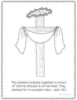 Crown Of Thorns Coloring Page Craft Or Poster Bible Verse Easter Purple Robe