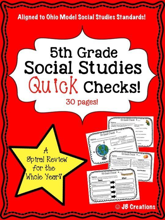 5th Grade Social Studies Quick Check Spiral Review Set Ohio