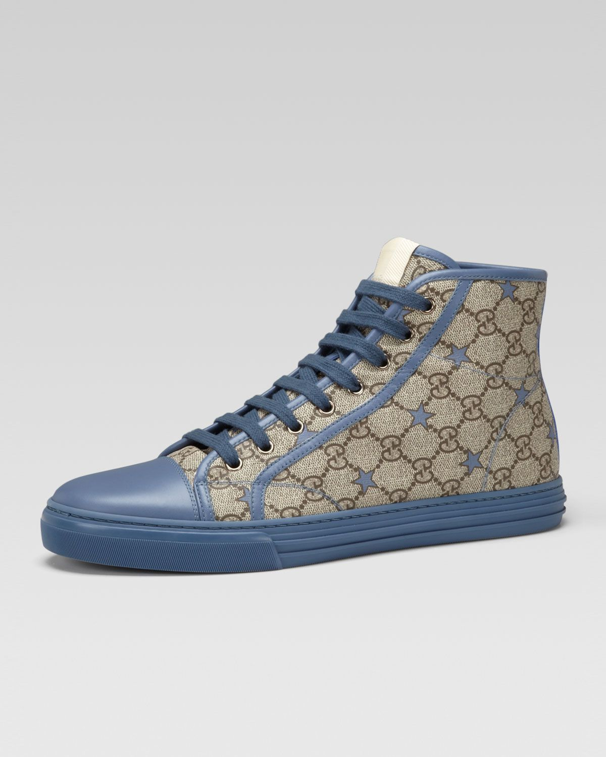 4dbb8b19609 Gucci California GG PU Stars Fabric High-Top Sneaker - Neiman Marcus ...