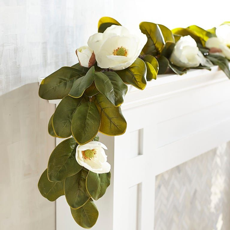 Faux Magnolia 6 Garland In 2020 Magnolia Garland Magnolia Centerpiece Magnolia Decor
