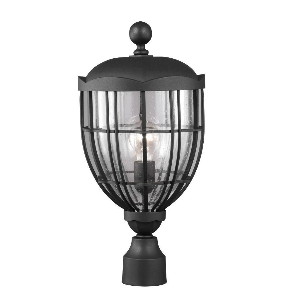 River North Collection 1-Light Textured Black Outdoor Post