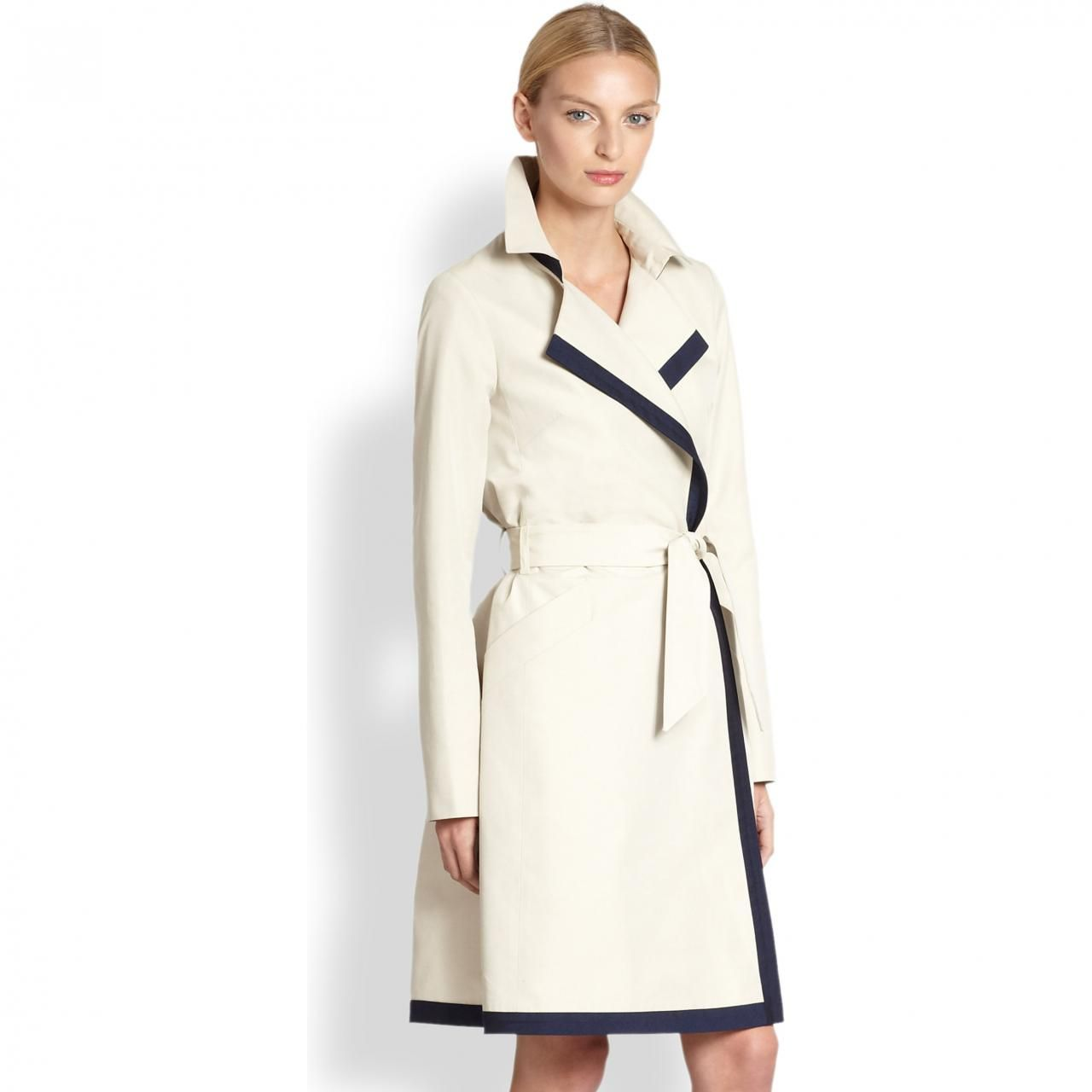 Martin Grant Contrast Trimmed Trench Coat as seen on Anne Hathaway in The Intern...her whole wardrobe was perfect!
