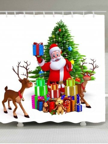 Waterproof Santa Claus and Christmas Gift Printed Shower Curtain