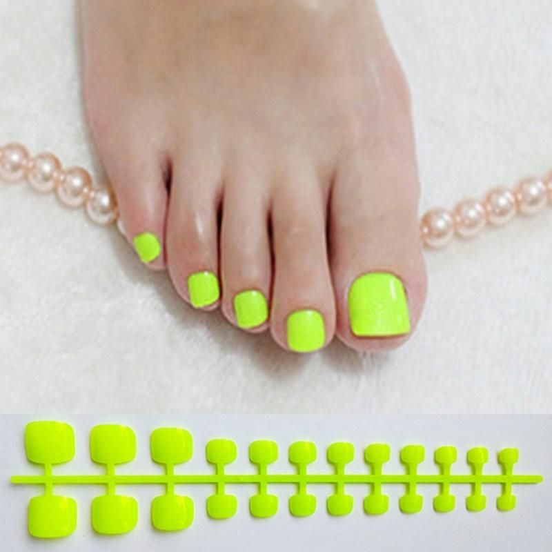 Multi Color Toe Nail Press Ons In 2020 Toe Nails Green Toe Nails Press On Nails