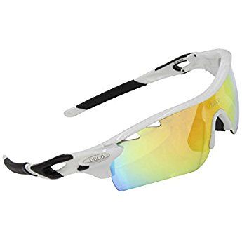 19054ab77ff Duco POLARIZED Sports Sunglasses Cycling Glasses With 5 Interchangeable  Lenses 0025 White Frame Black Arms