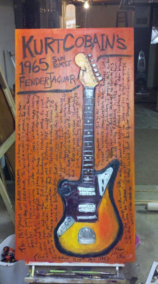 nirvana art guitar art kurt cobain epiphone texan nixon now kurt cobain 1965 fender jaguar guitar original by karlhaglundart 985 00