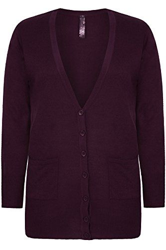 Your #1 Source for Jewelry and Accessories » Yoursclothing Plus Size Womens Dark Super Soft Boyfriend Cardigan With Pockets Size 16 Purple