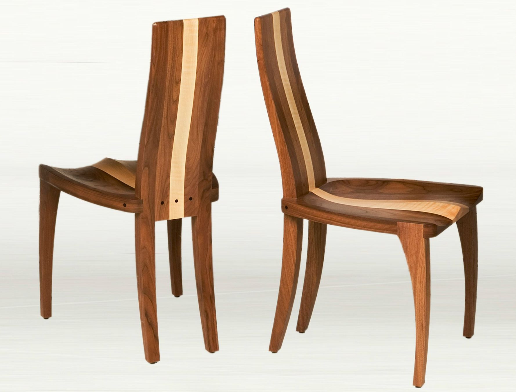 Custom Made Modern Dining Chair In Solid Walnut Wood With Carved Seat Comfortable Curved Back Modern Wood Dining Chair Custom Dining Chairs Wood Dining Chairs