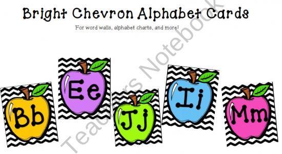 Bright Apple Chevron Alphabet Cards