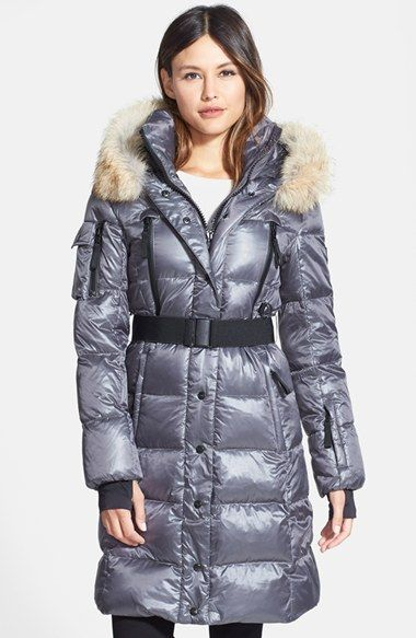 Women's SAM. 'Infinity' Belted Long Goose Down Coat with Removable ...