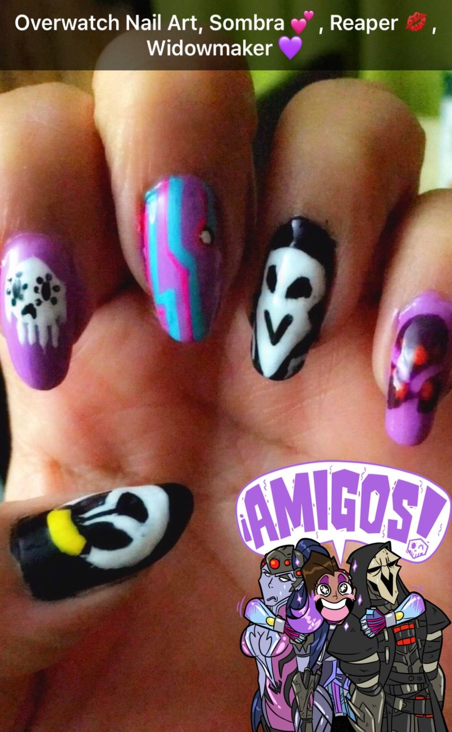 Overwatch Team Talon Nail Art, Sombra, Reaper and Widowmaker ...