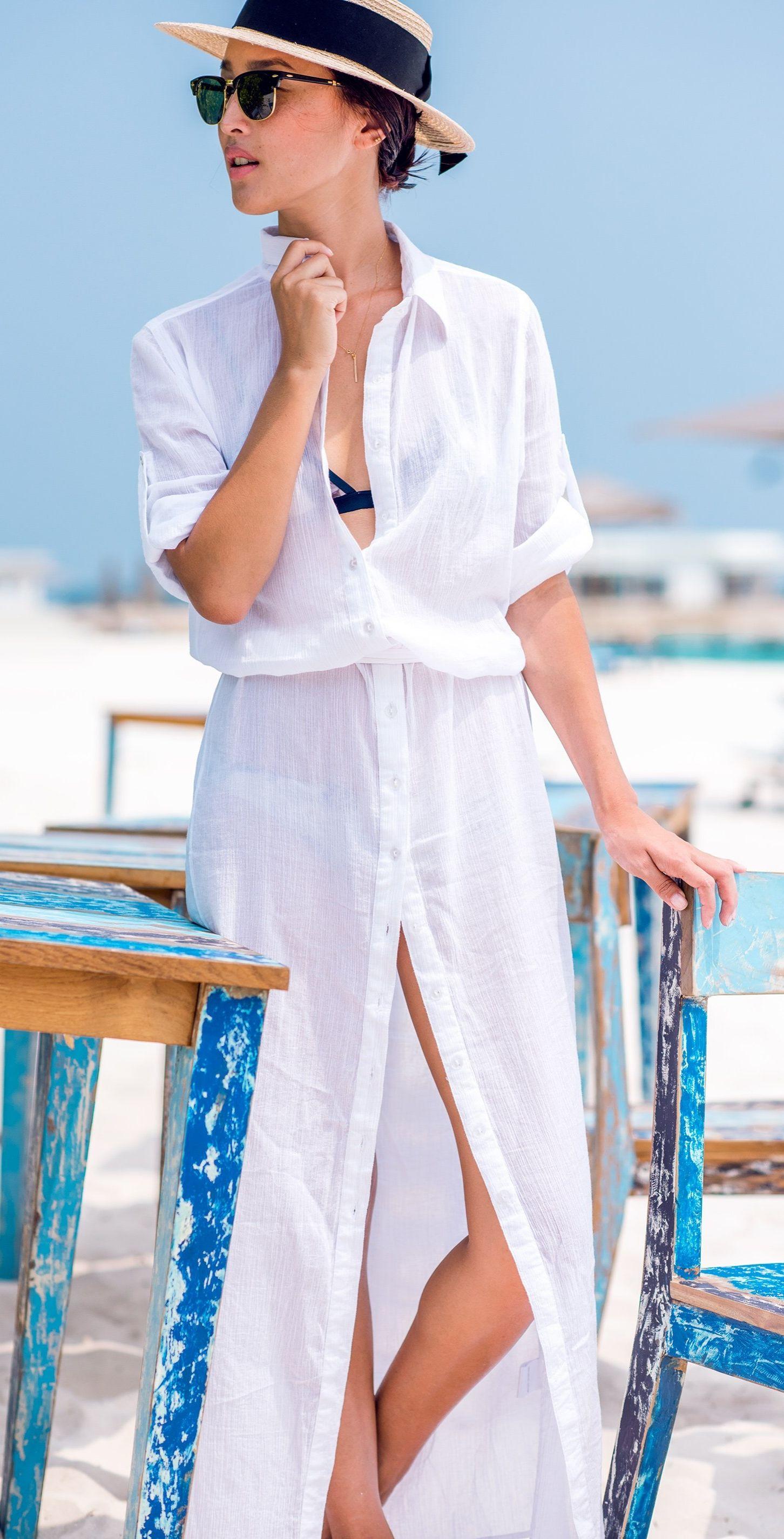 24da7a87531 Maxi shirt dresses work for the beach too. | שמלות בצבע לבן | Maxi ...