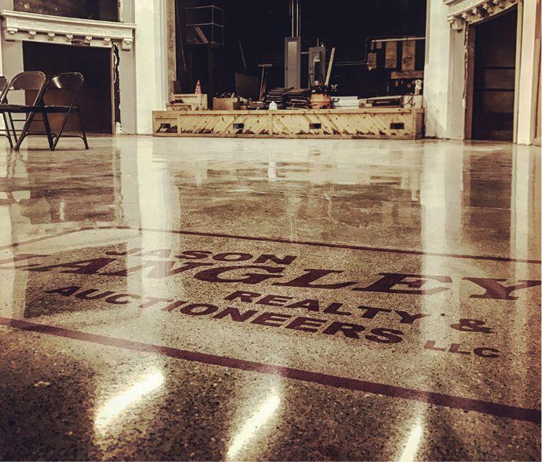Concrete Cracks Fixed By Hand While Restoring Historic Theater Floor Concrete Decor Concrete Floors Historic Theater Concrete Decor