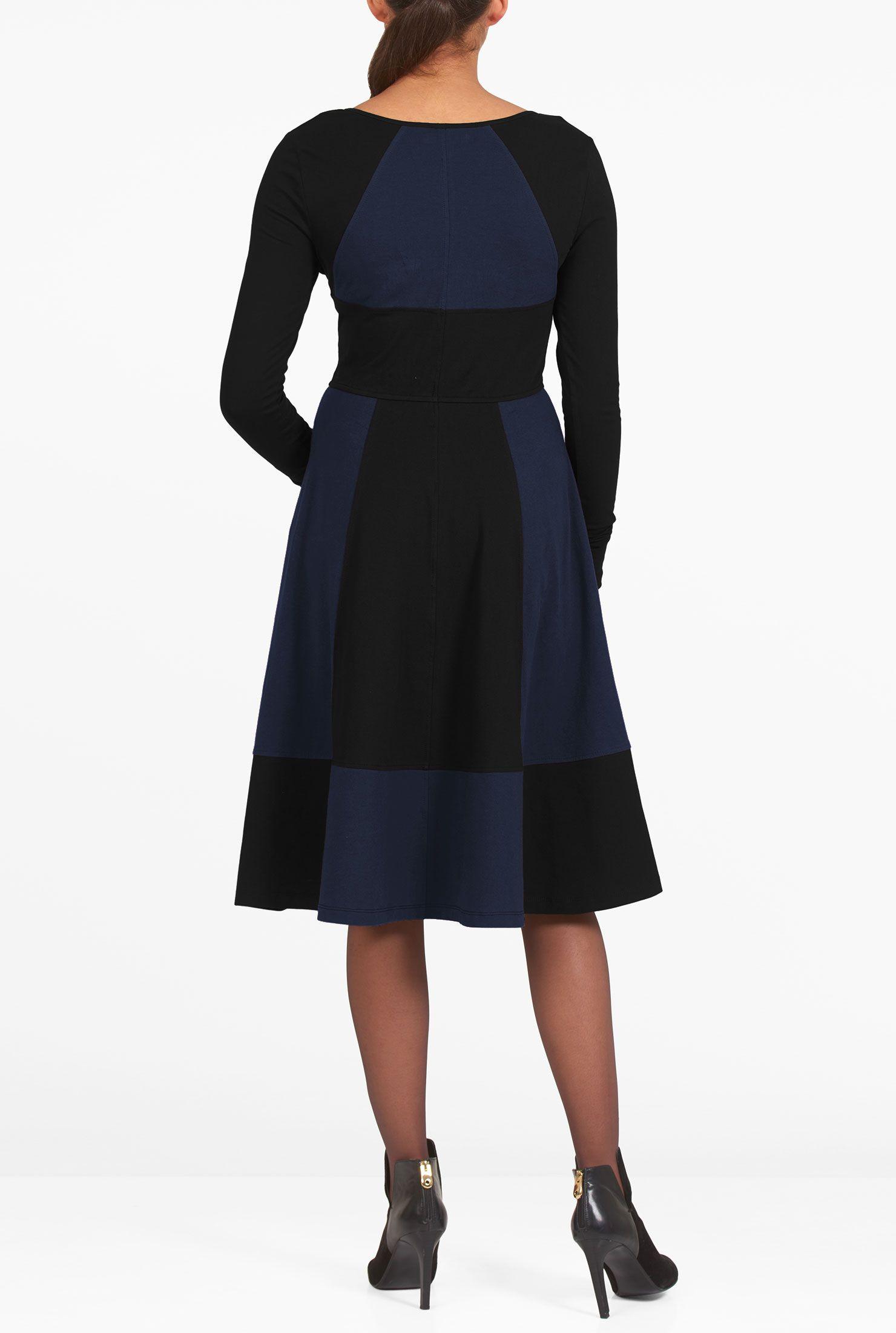 Below knee length dresses black dresses colorblock dresses cotton