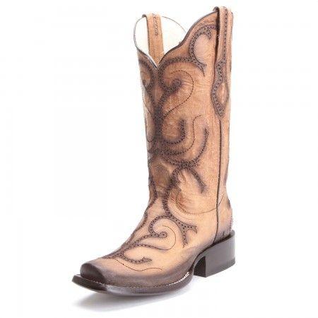 e55094b3e74 Corral Womens Laser Narrow Square Toe Cowboy Boots Tan | Cowboy ...