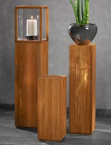 Kaheku Premium Echt Holz Säule FORST Dekosäule Galeriesockel Natur Sockel Eiche