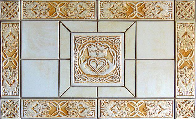 Decorative handmade ceramic tile Celtic Claddagh decorative