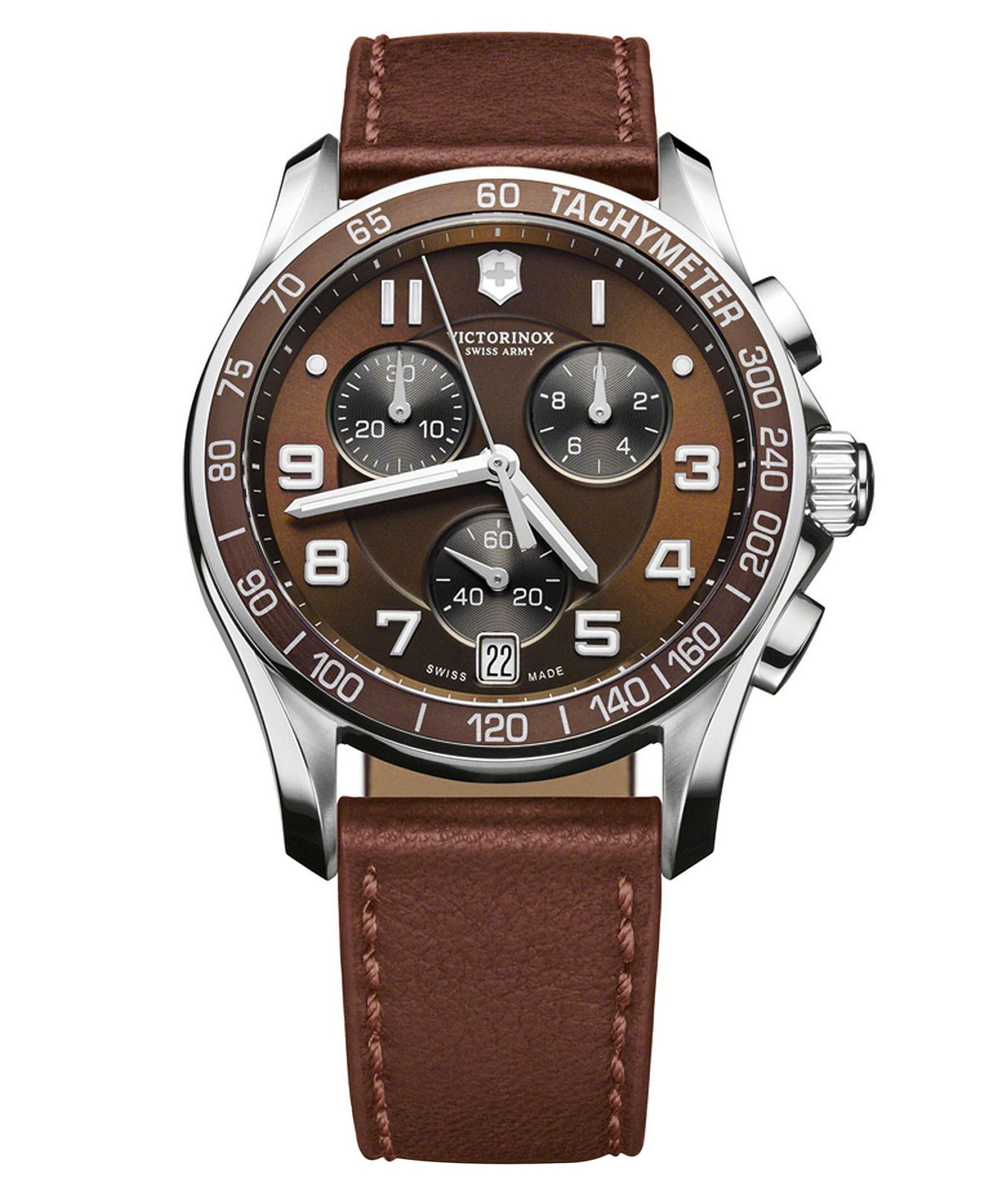 victorinox swiss army watch mens chronograph brown
