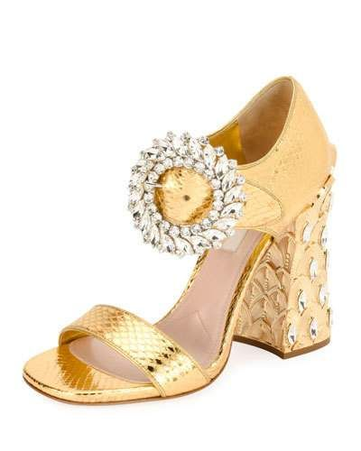 b855b203e17 X3U61 Miu Miu Metallic Snakeskin Buckle Pump with Pineapple Heel ...
