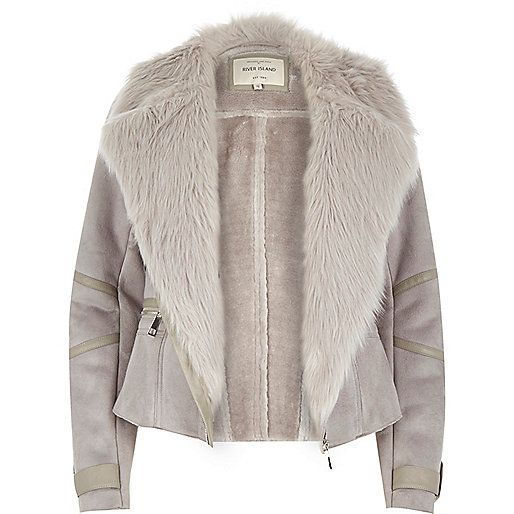 Womens suede jacket with fur collar