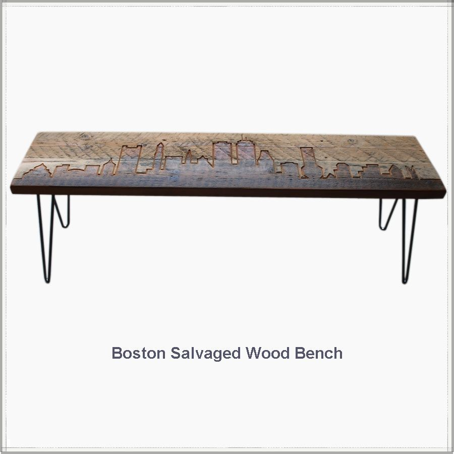 Boston Skyline Reclaimed Wood Bench Recycled Furniture Urban Goods