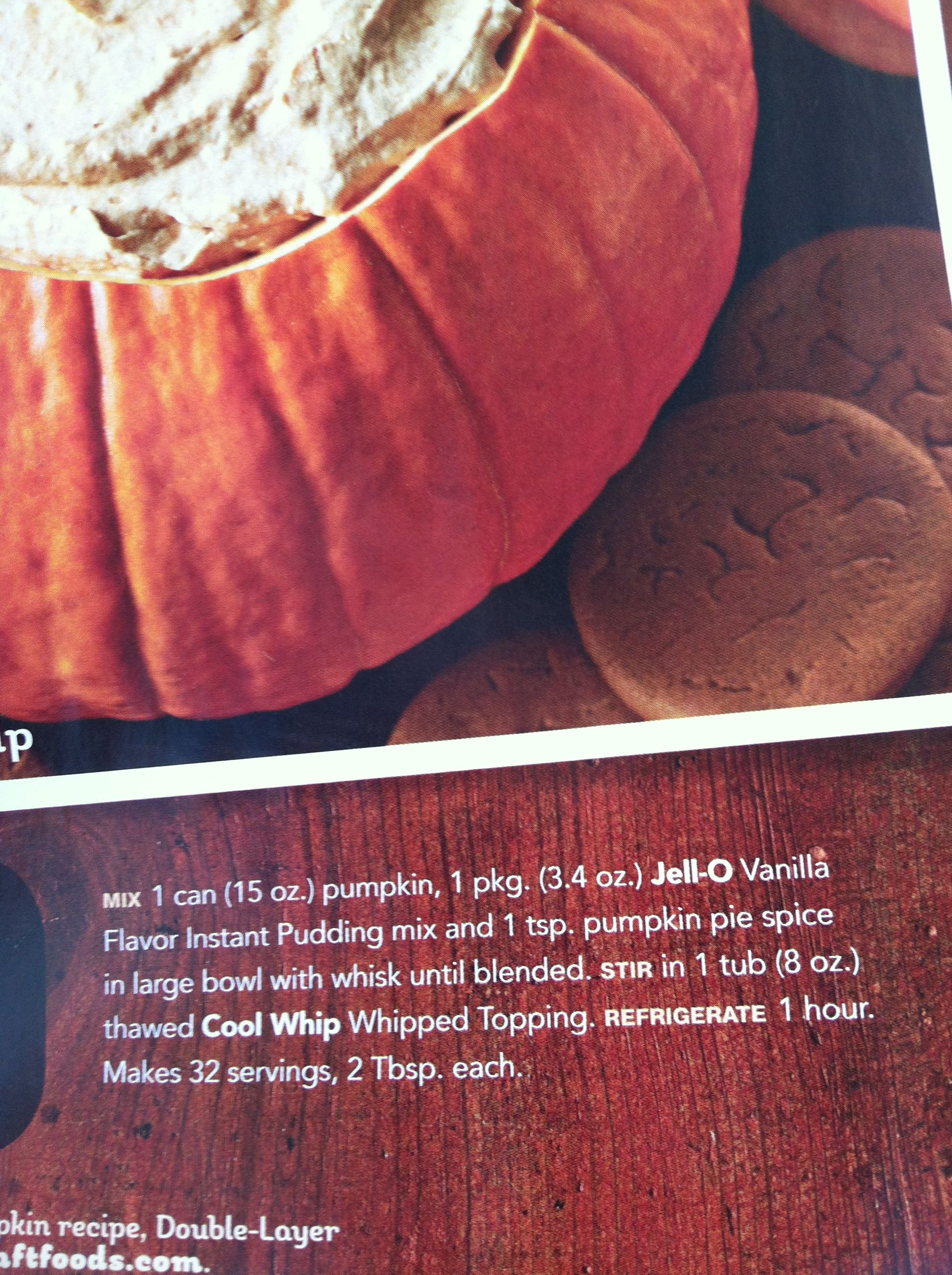 Pumpkin Fluff Dip Can Serve In Hollowed Out Pumpkin From Kraft Food Family Magazine Pumpkin Fluff Dip Kraft Food And Family Kraft Recipes
