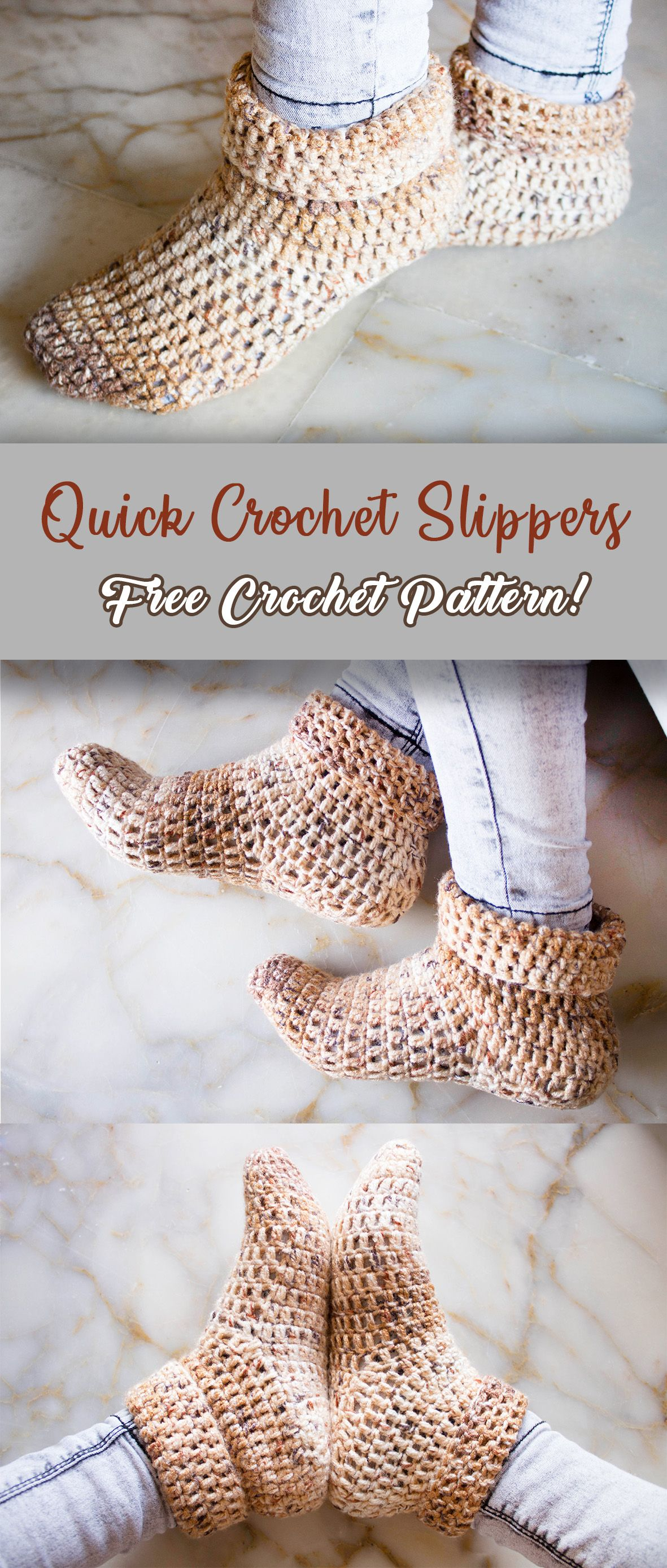 FREE CROCHET PATTERN! Quick Crochet Slippers... Click to go to the pattern. #slippers #socks #crochet #freepattern