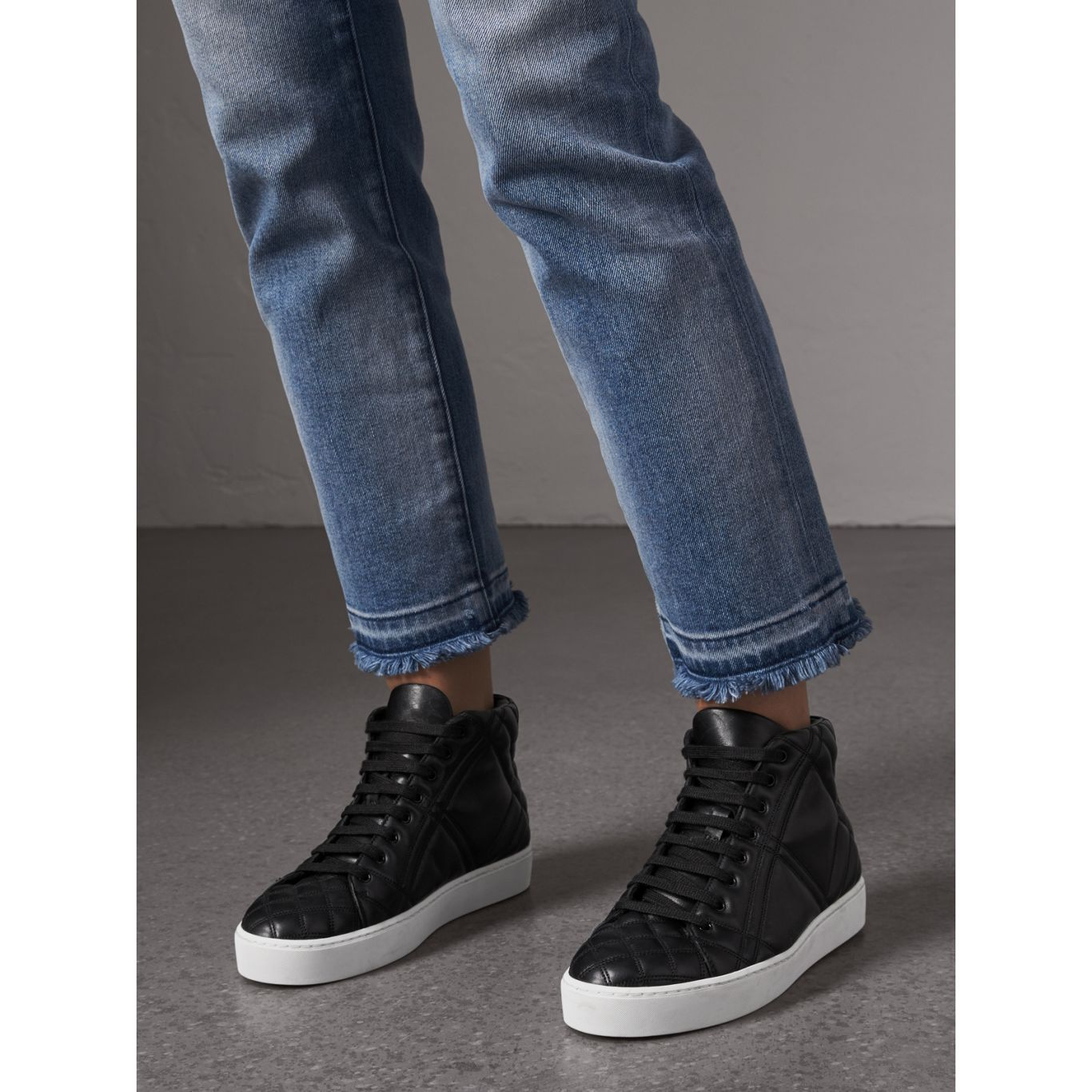 Check Quilted Leather High Top Sneakers In Black Women Burberry United States Black High Top Sneakers Womens High Top Sneakers High Top Sneakers
