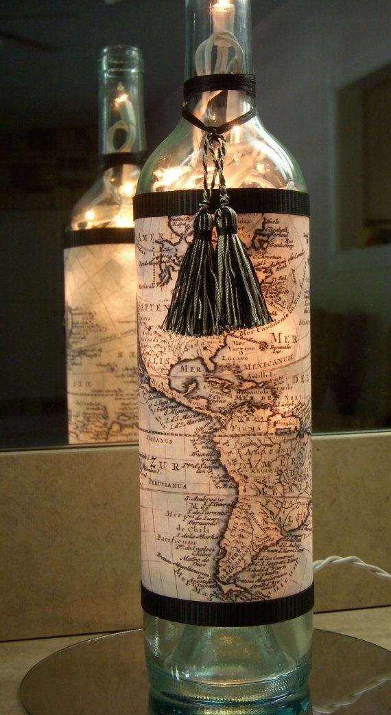 Diy lamp with map world travel wine bottle crafts for Diy wine bottle crafts pinterest