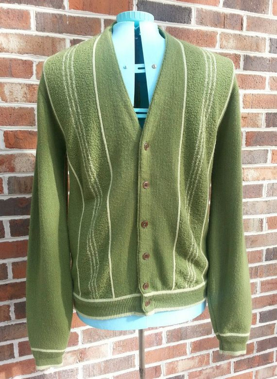Vintage 1960s Mens Cardigan Sweater Jumper Green With Stripes