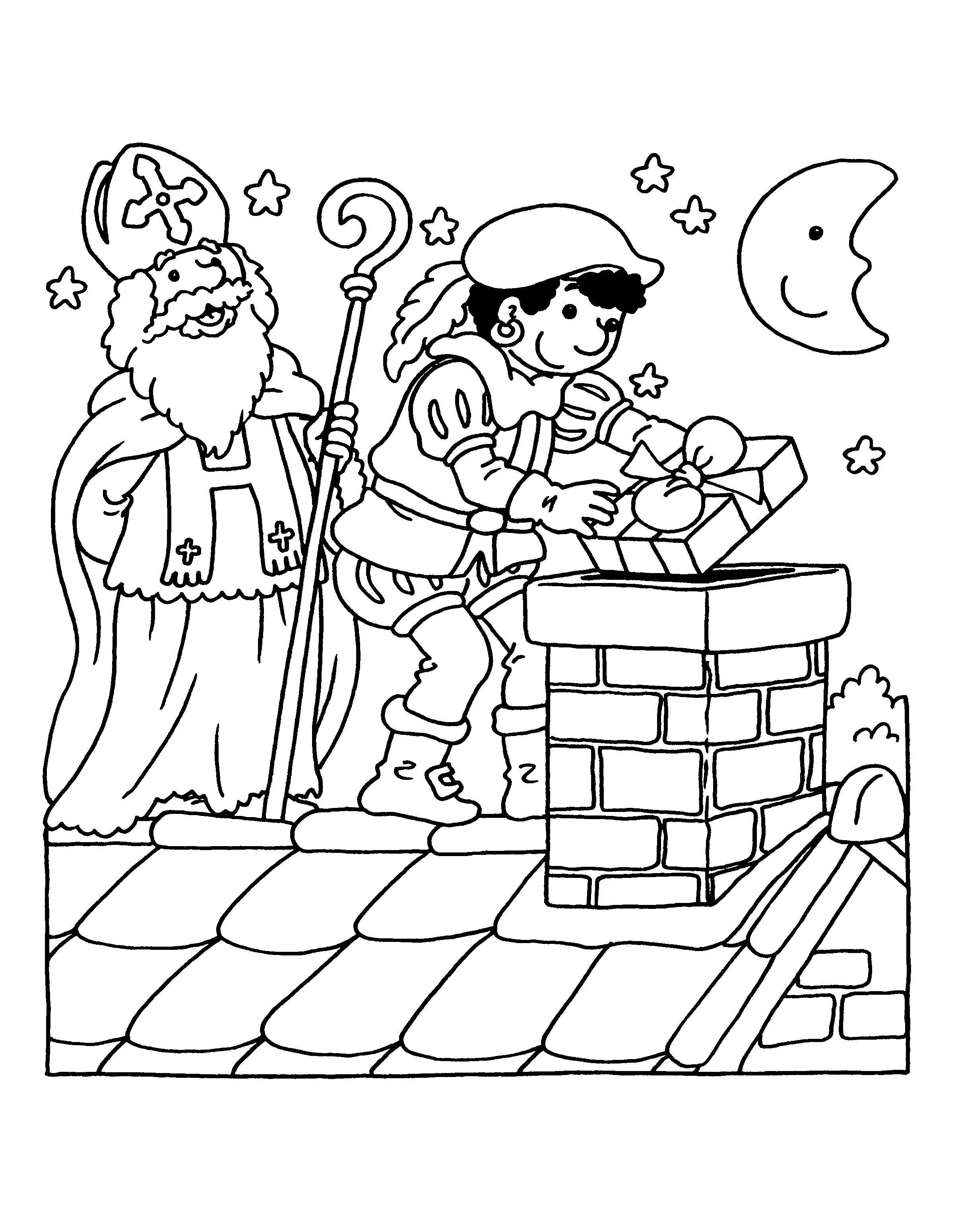 Kleurplaten Zwarte Piet En Sinterklaas.Kleurplaten Van Sint En Piet Idee Kleurplaat Van Sinterklaas En