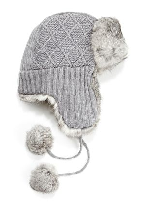 9bb8946d4 SURELL Knit Trapper Hat with Long Hair Rabbit Trim | Surell ...