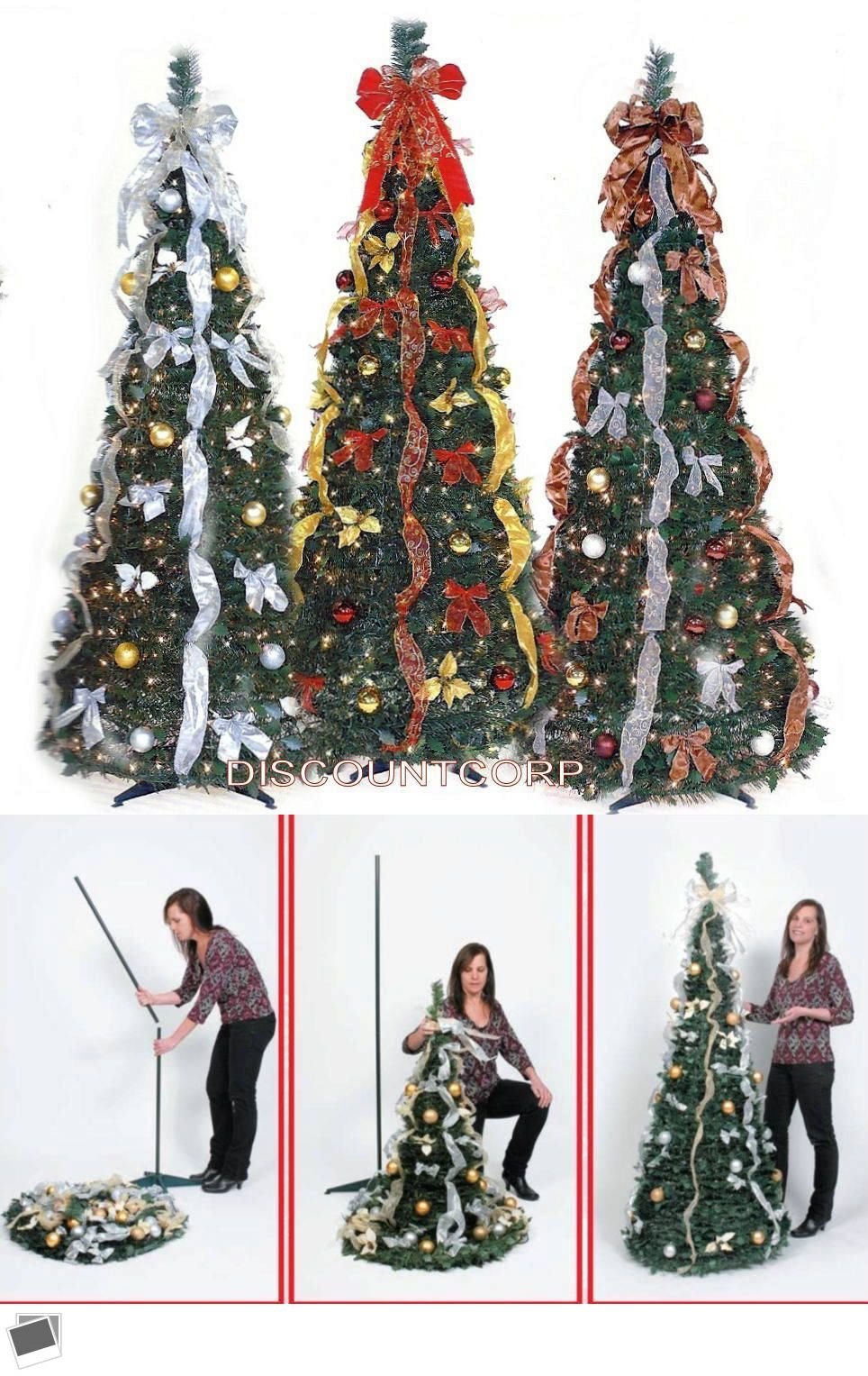 Artificial Christmas Trees 117414 6 Ft Pop Up Decorated And Pre Lit Collapsible Christmas Christmas Tree Collapsible Christmas Tree Artificial Christmas Tree