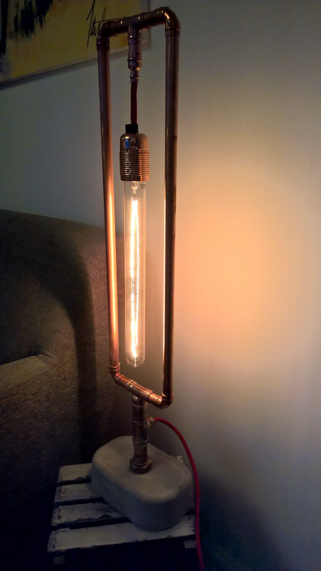 Home Made Lamps copper pipe lamp with homemade concrete base | lights | pinterest