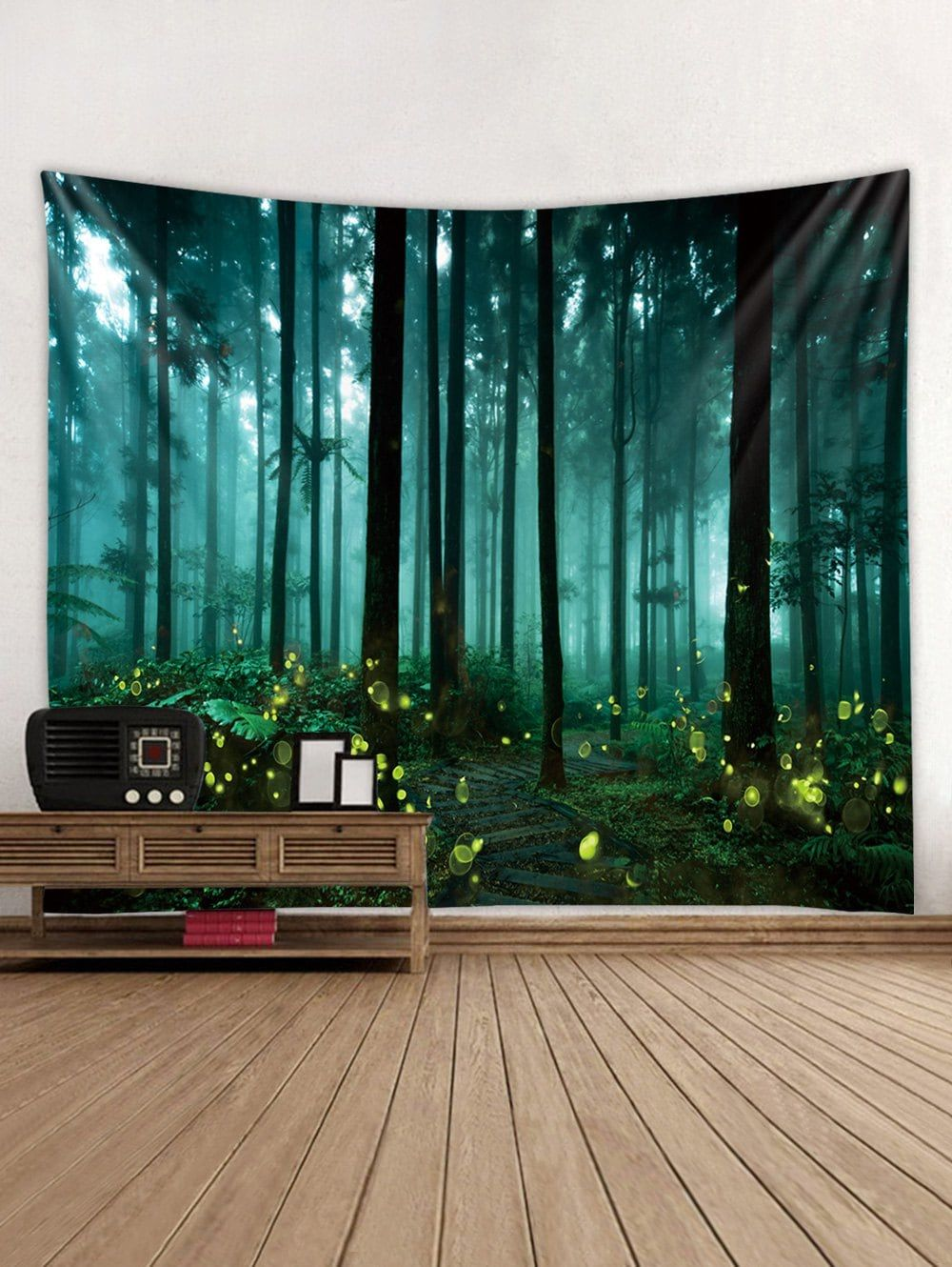 forest firefly print tapestry