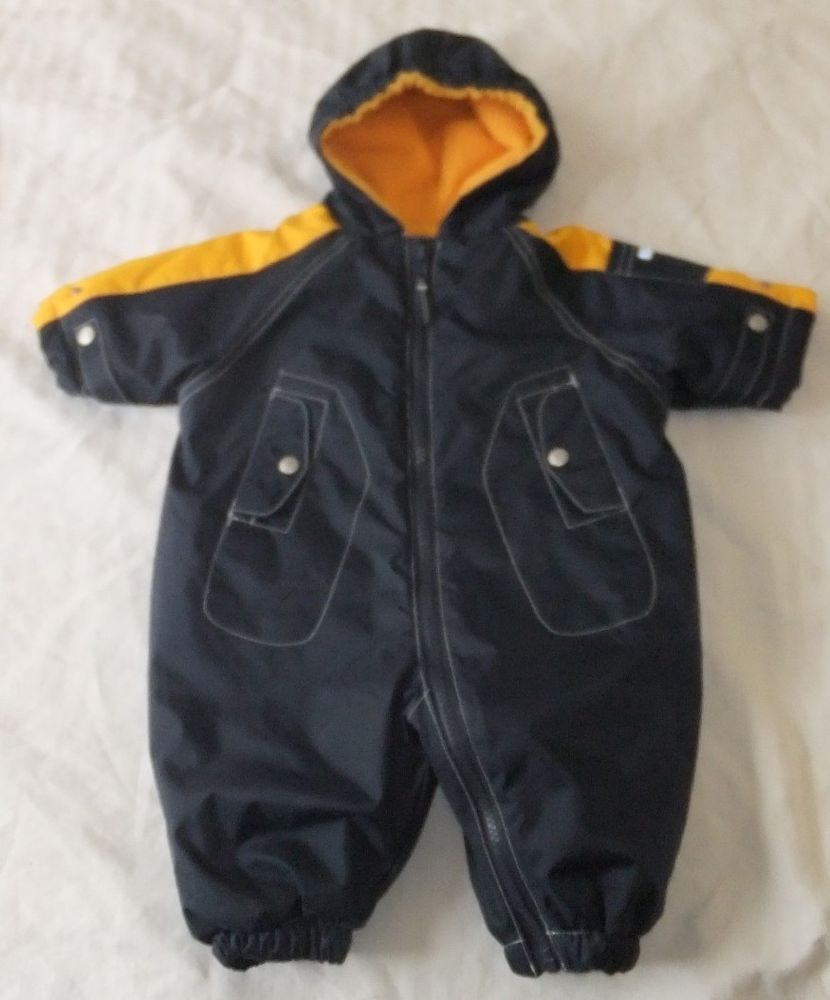 6c10df0a8 Baby Gap Boy Snowsuit 0-3M Bunting Navy Blue Yellow Trim Hood New ...