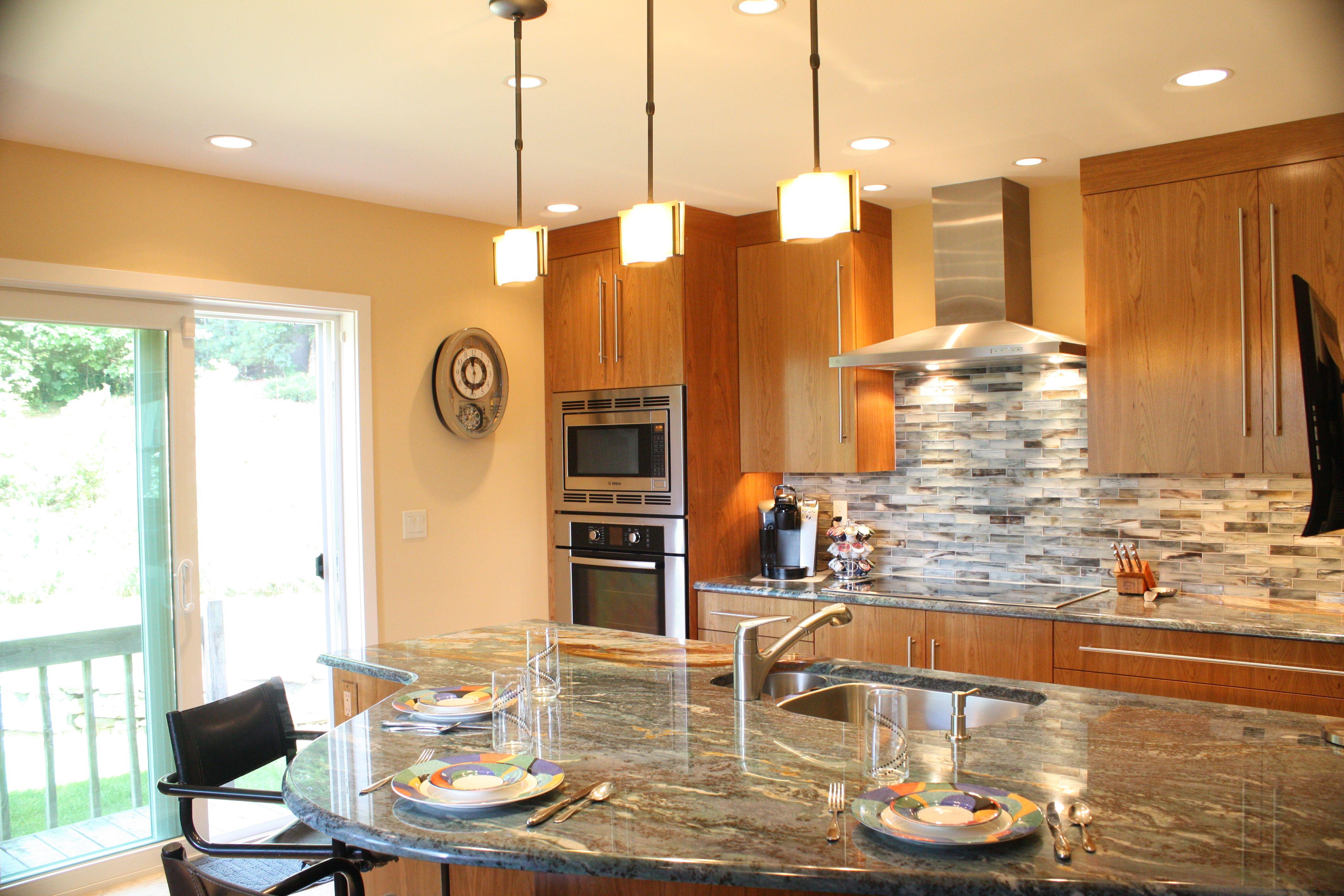 Cherry Wood Kitchen stainless steel appliances