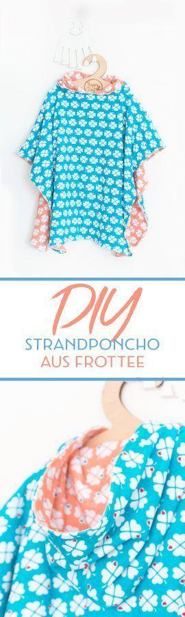 DIY Strandponcho für Kinder nähen | Nähen || Schnittmuster ...