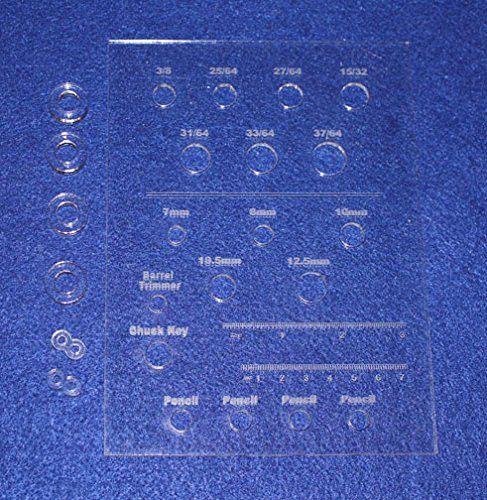"Laser Cut Drill Bit Storage Acrylic Template - Common Pen Turner Sizes 1/8"""