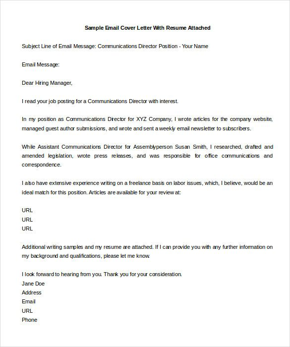 email cover letter sample template