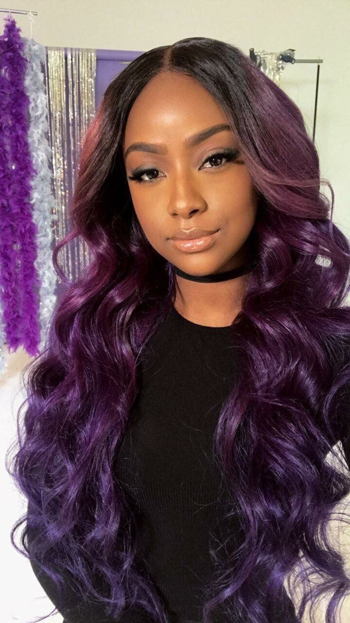 Sew In Weave Hairstyle With Color Purple