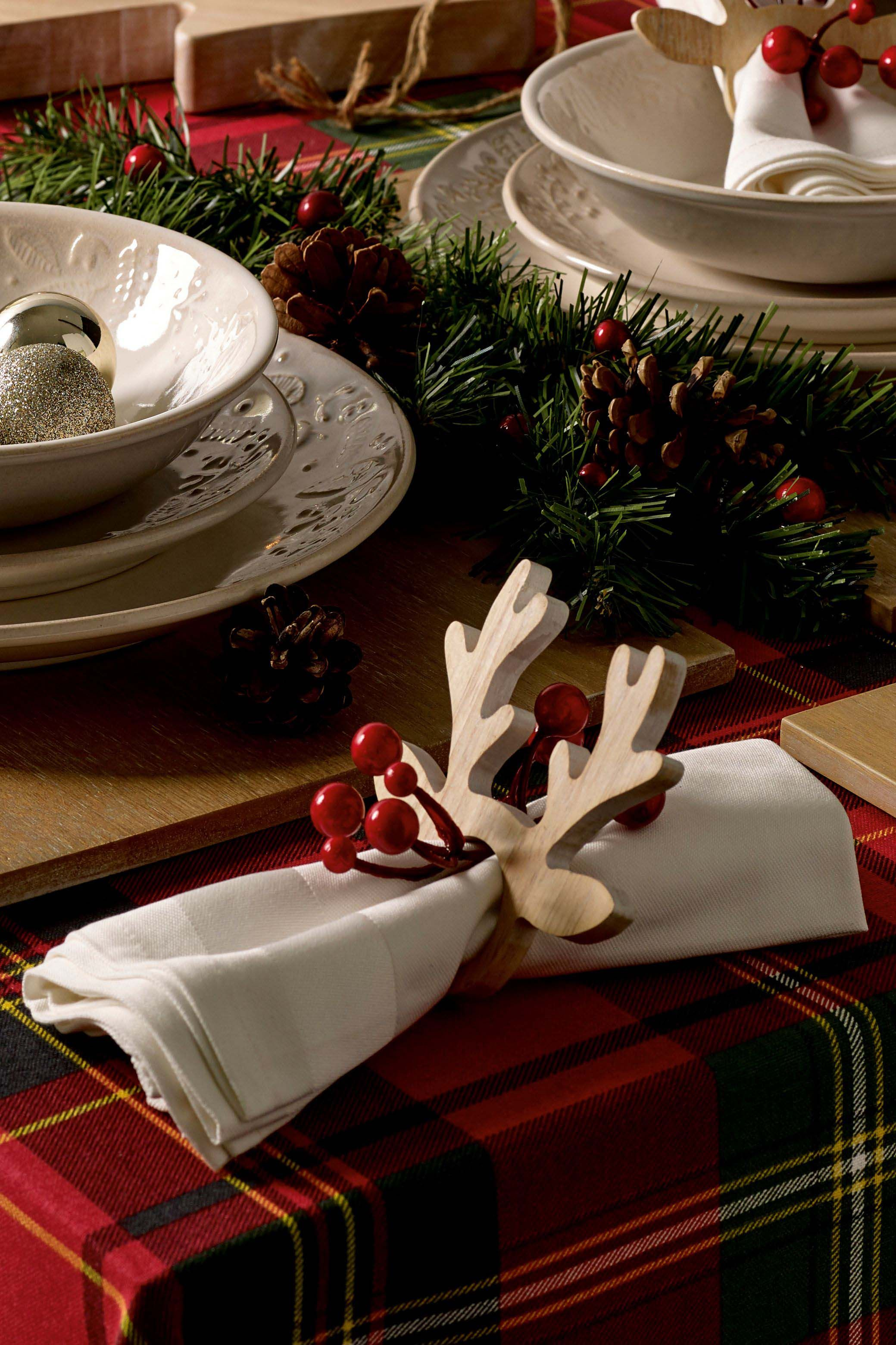 Next Set Of 2 Stag Napkin Rings Natural Christmas Table Settings Christmas Tablescapes Christmas Table