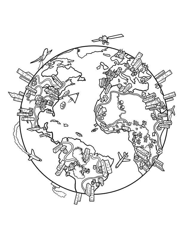 Earth Population Globe In World Map Coloring Page World Map