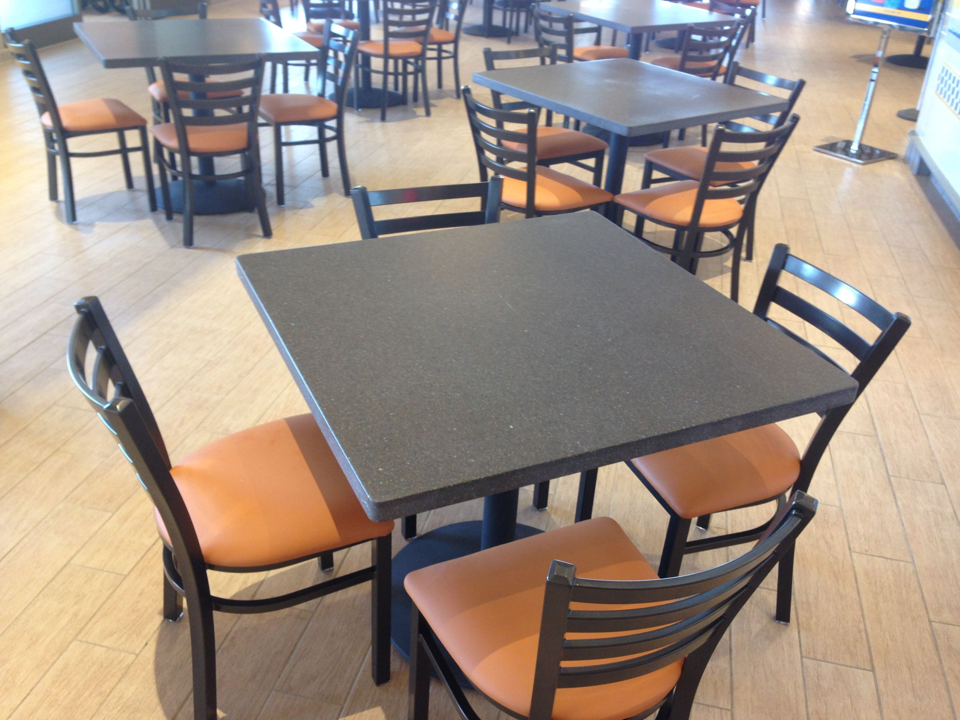 New Tables And Chairs Are Installed In The Food Court